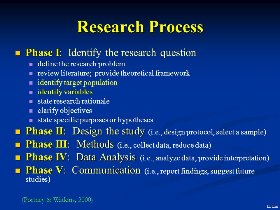 Research Process Phase I: Identify the research question