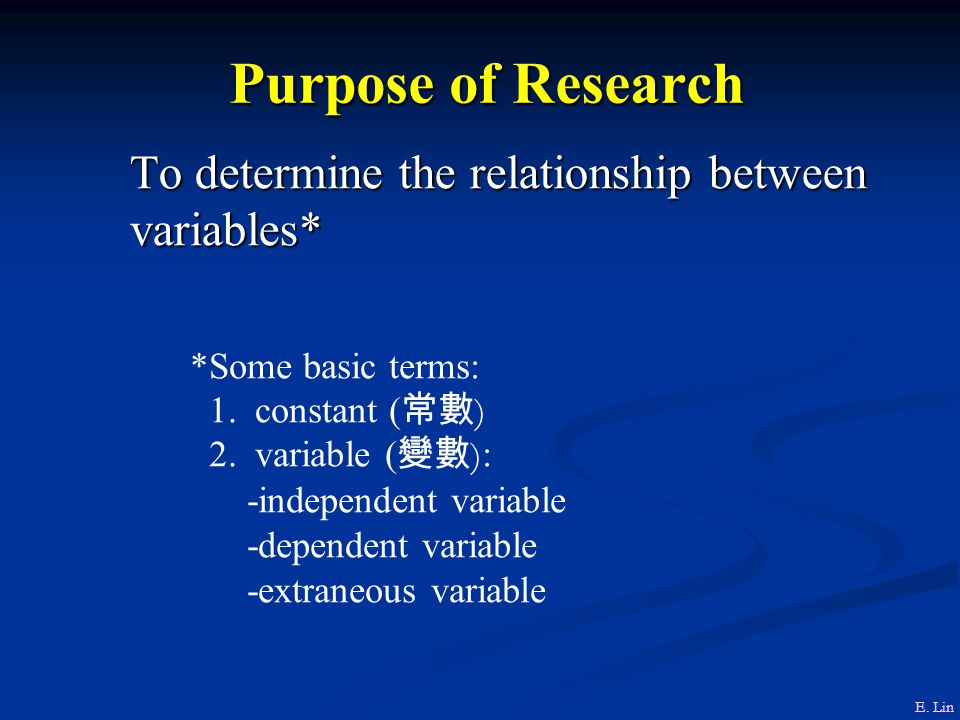 Purpose of Research To determine the relationship between variables*