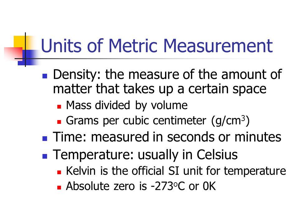 Units of Metric Measurement