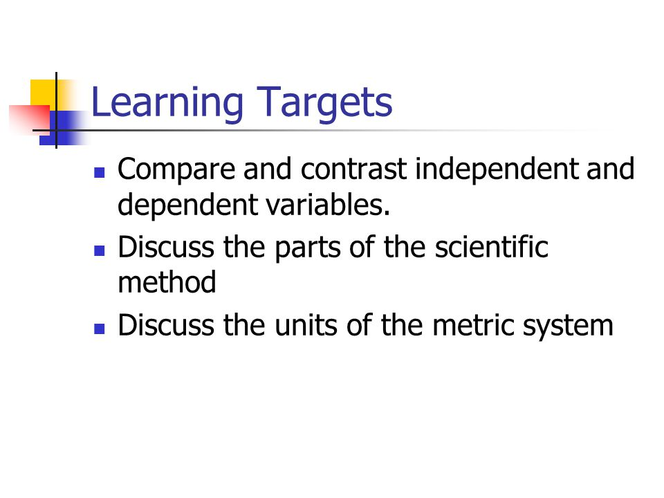 Learning Targets Compare and contrast independent and dependent variables. Discuss the parts of the scientific method.