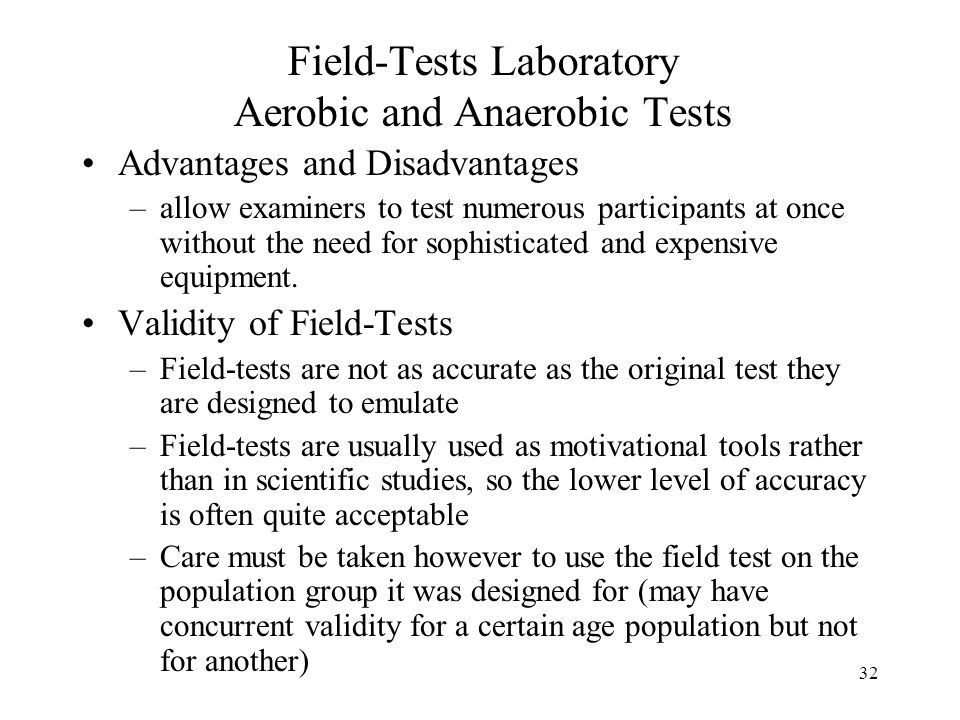 Field-Tests Laboratory Aerobic and Anaerobic Tests
