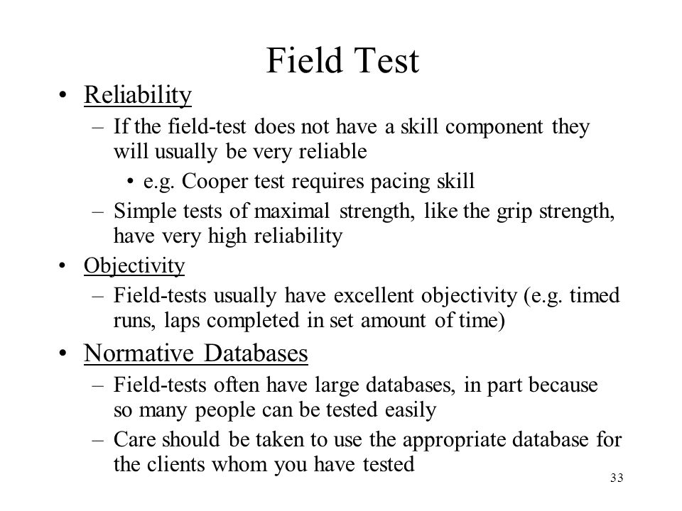 Field Test Reliability Normative Databases