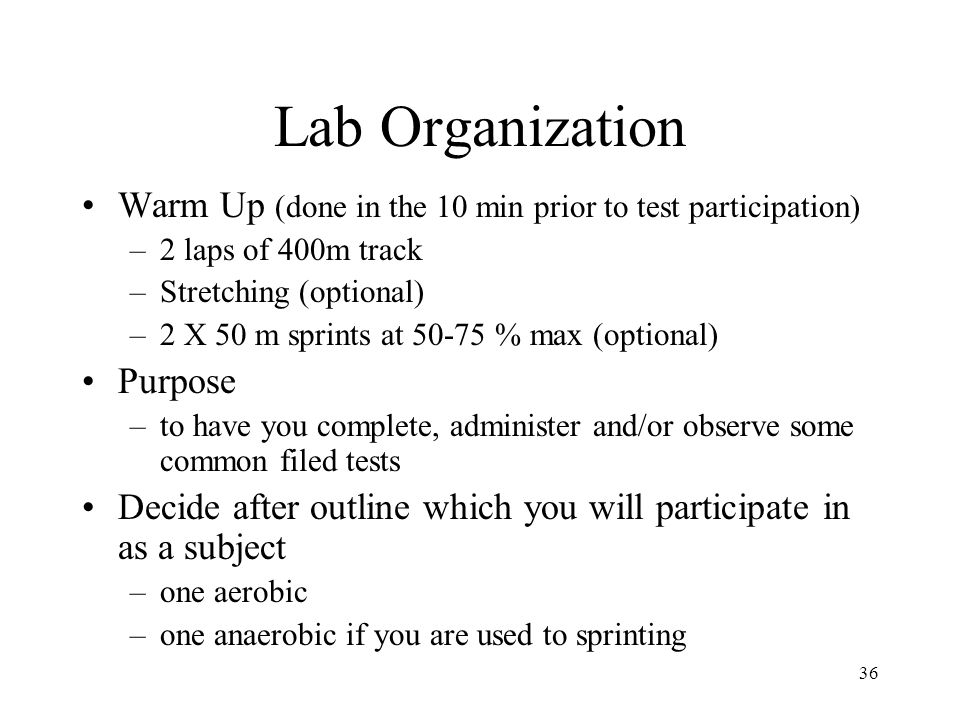 Lab Organization Warm Up (done in the 10 min prior to test participation) 2 laps of 400m track. Stretching (optional)