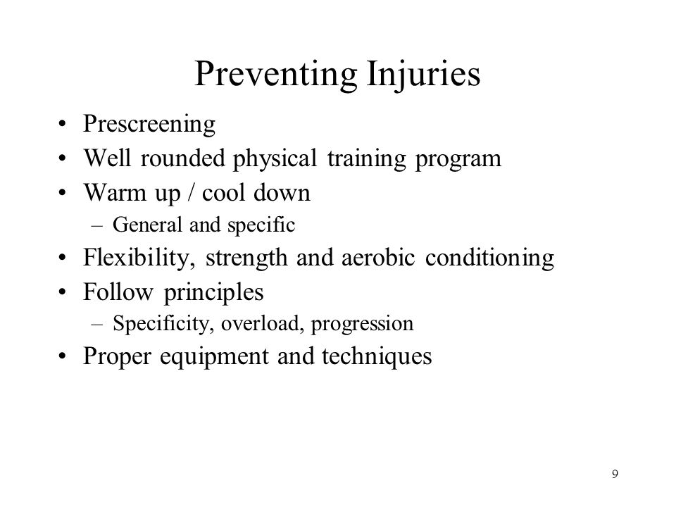 Preventing Injuries Prescreening