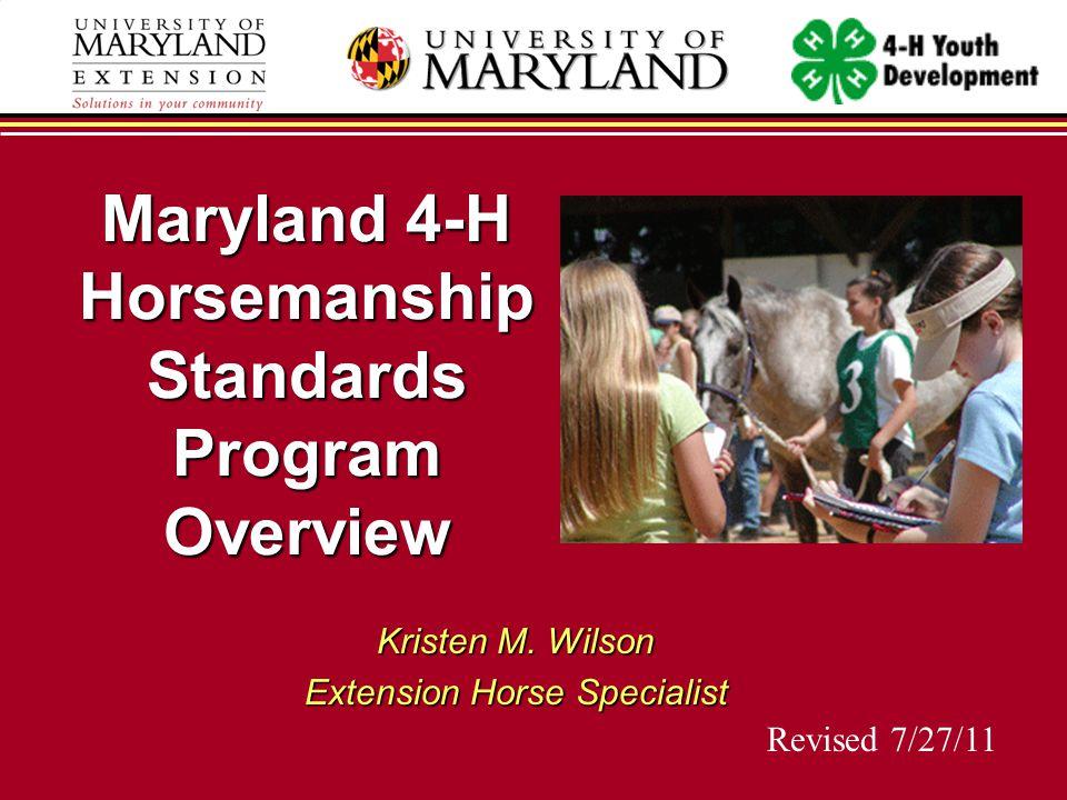 Maryland 4-H Horsemanship Standards Program Overview