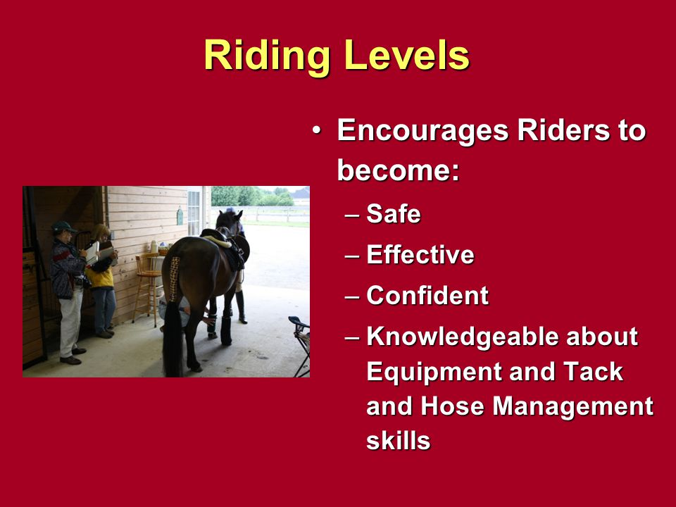 Riding Levels Encourages Riders to become: Safe Effective Confident