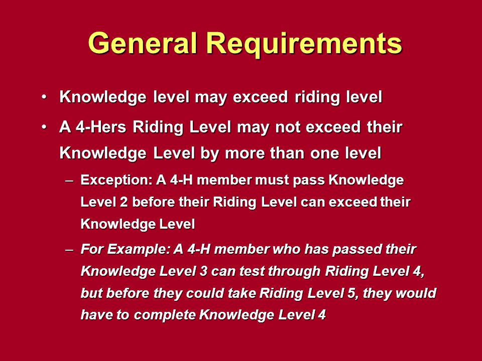 General Requirements Knowledge level may exceed riding level