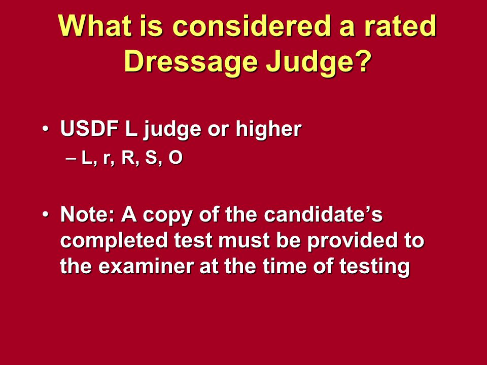 What is considered a rated Dressage Judge