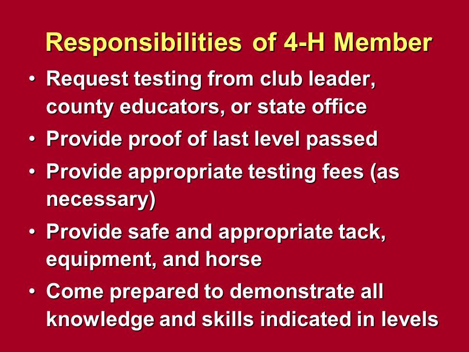 Responsibilities of 4-H Member