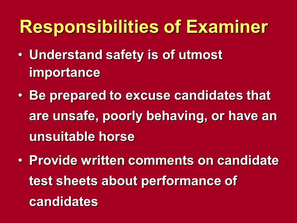 Responsibilities of Examiner