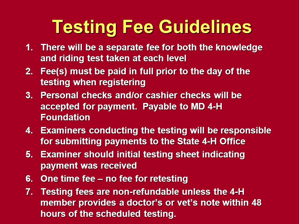 Testing Fee Guidelines