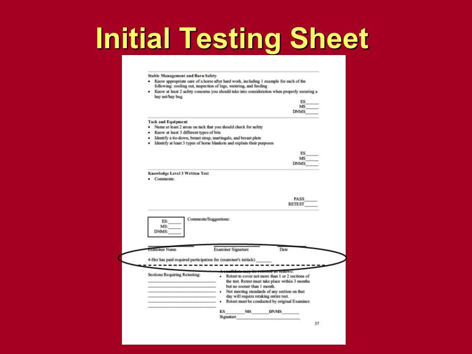 Initial Testing Sheet