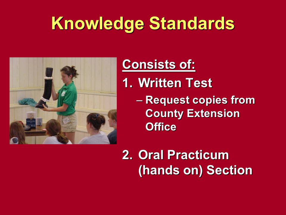 Knowledge Standards Consists of: Written Test