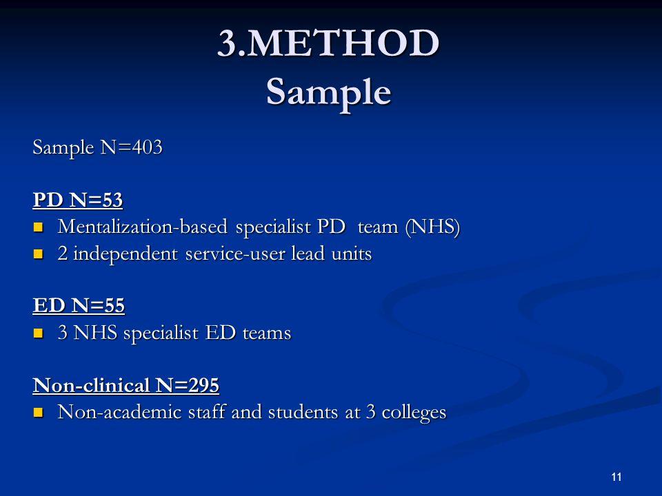 3.METHOD Sample Sample N=403 PD N=53