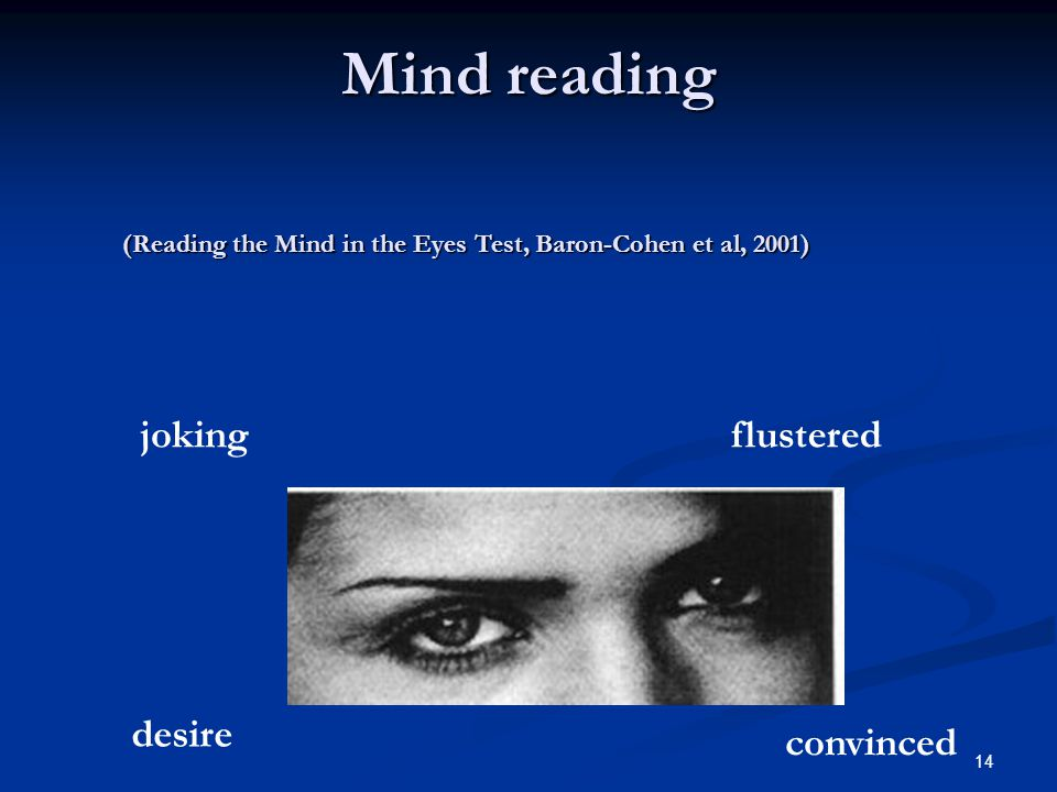 Mind reading joking flustered desire convinced