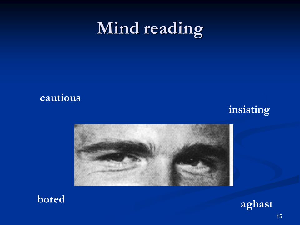 Mind reading cautious insisting bored aghast