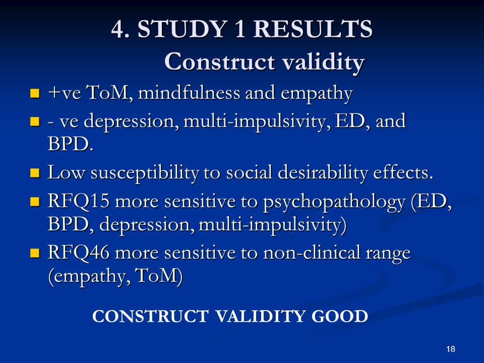 4. STUDY 1 RESULTS Construct validity