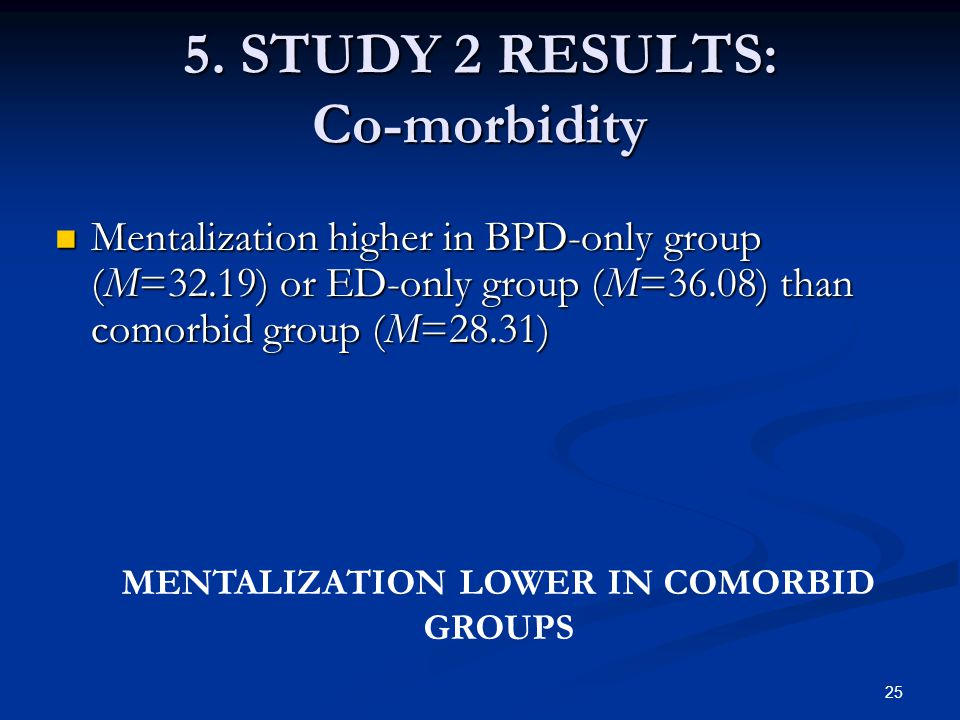 5. STUDY 2 RESULTS: Co-morbidity