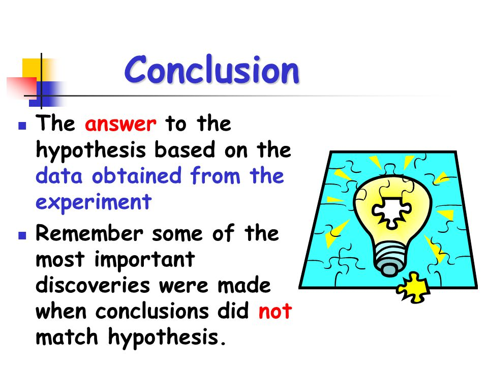 Conclusion The answer to the hypothesis based on the data obtained from the experiment.