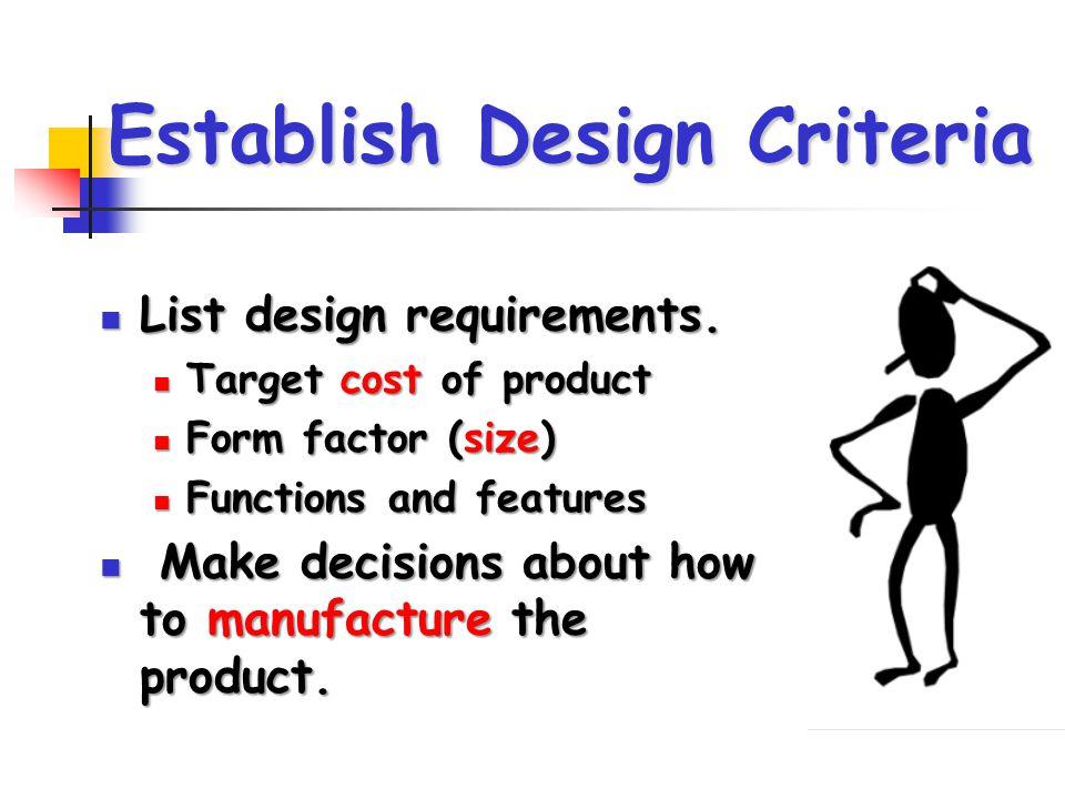Establish Design Criteria