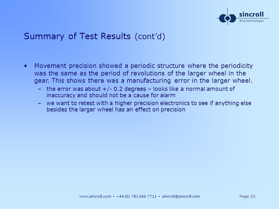 Summary of Test Results (cont'd)