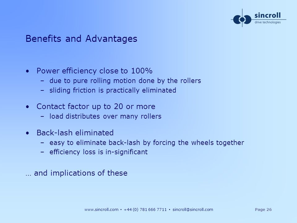 Benefits and Advantages
