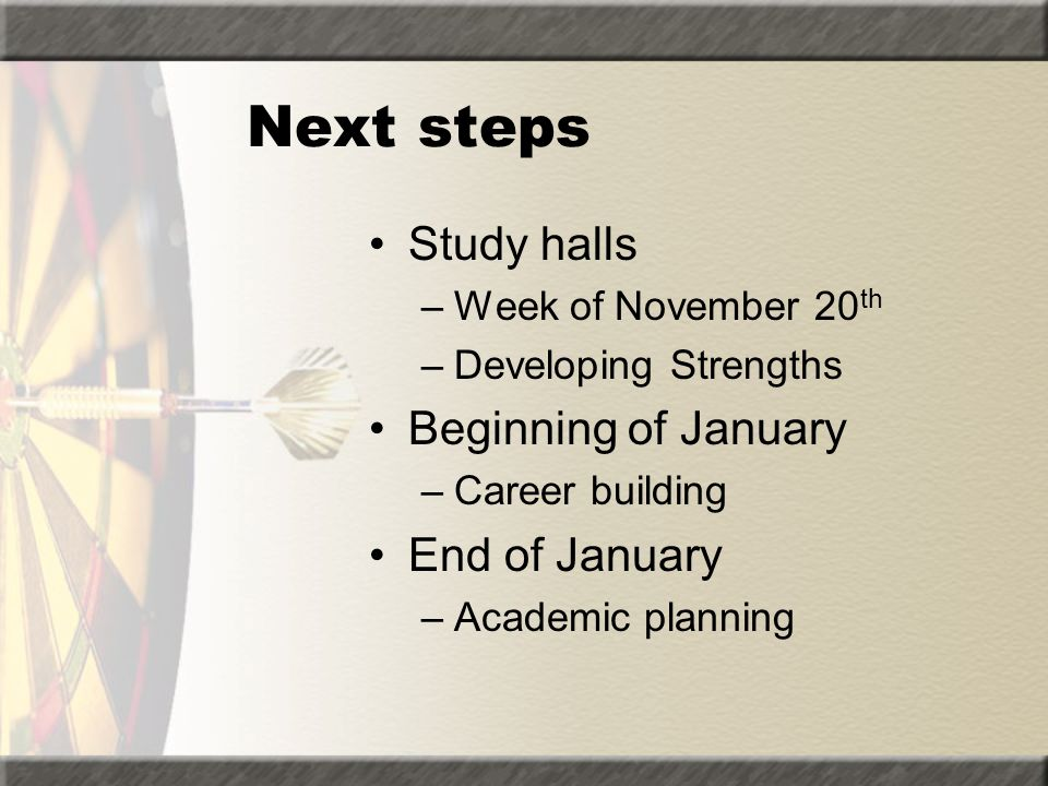 Next steps Study halls Beginning of January End of January