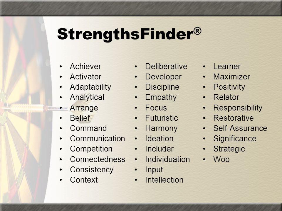 StrengthsFinder® Achiever Activator Adaptability Analytical Arrange