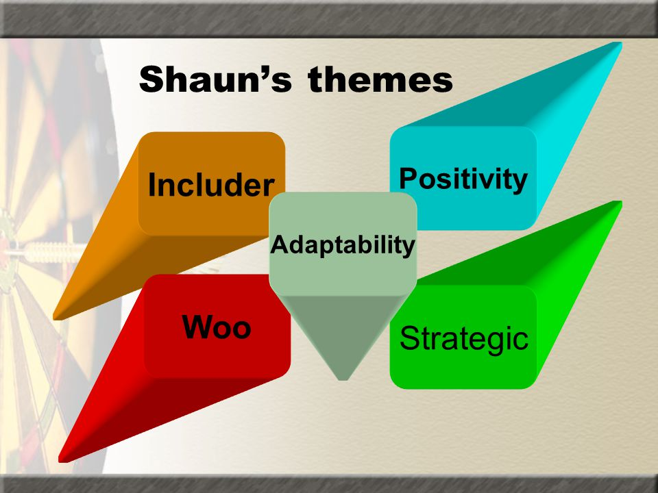 Shaun's themes Positivity Includer Adaptability Woo Strategic