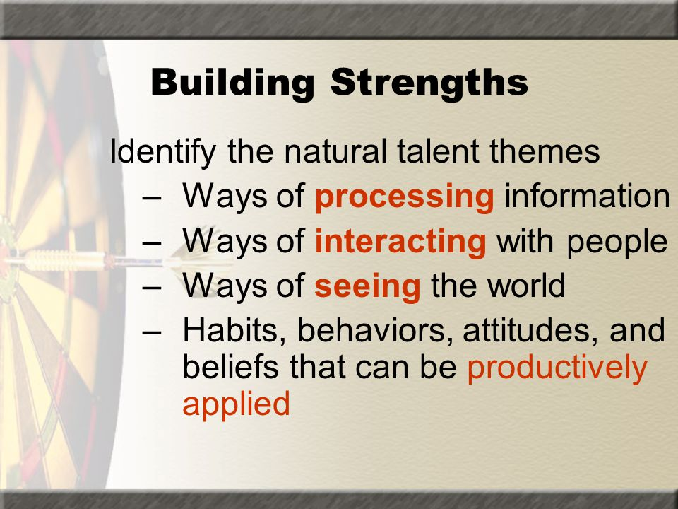 Building Strengths Identify the natural talent themes
