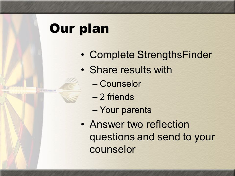 Our plan Complete StrengthsFinder Share results with