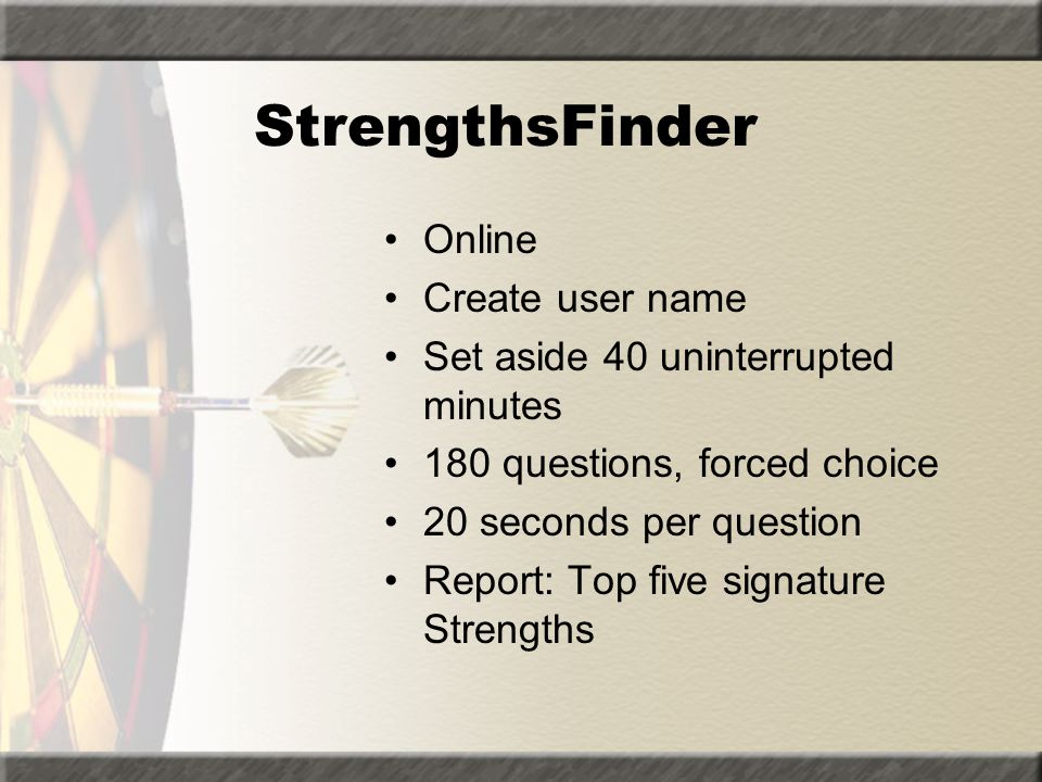 StrengthsFinder Online Create user name