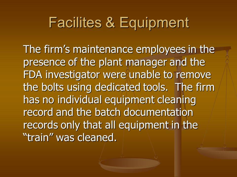Facilites & Equipment