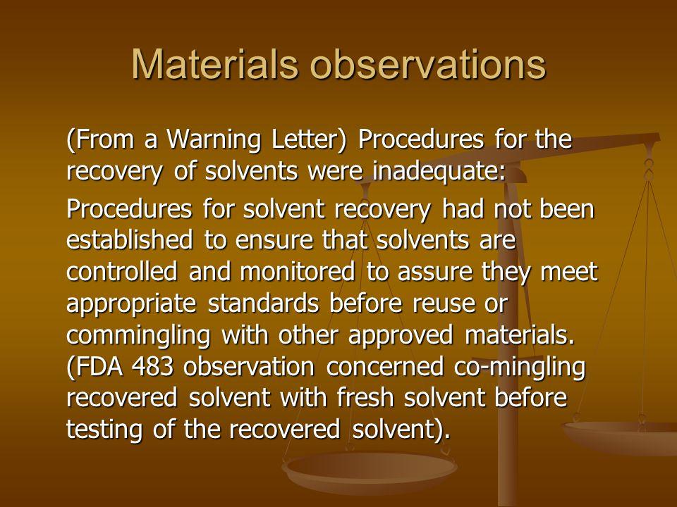 Materials observations