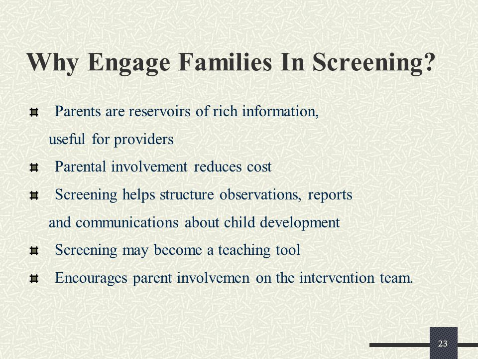 Why Engage Families In Screening