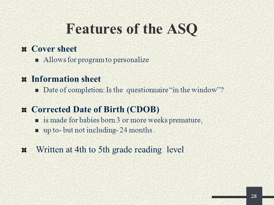 Features of the ASQ Cover sheet Information sheet