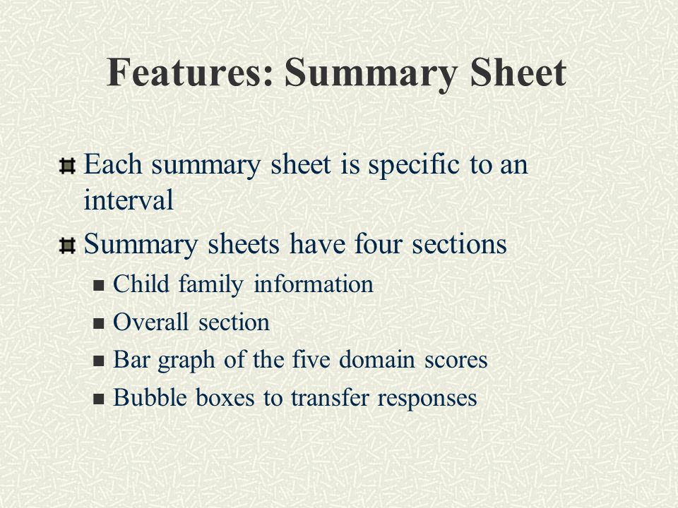 Features: Summary Sheet