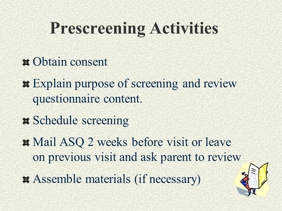 Prescreening Activities