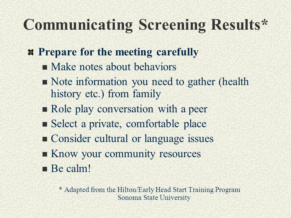 Communicating Screening Results*