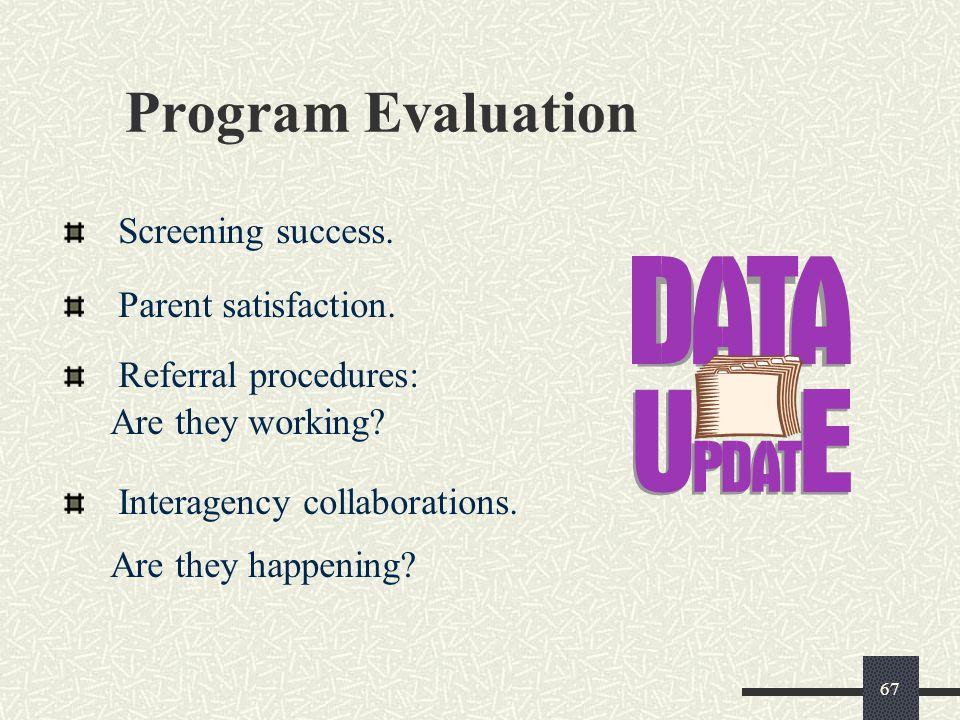 Program Evaluation Screening success. Parent satisfaction.