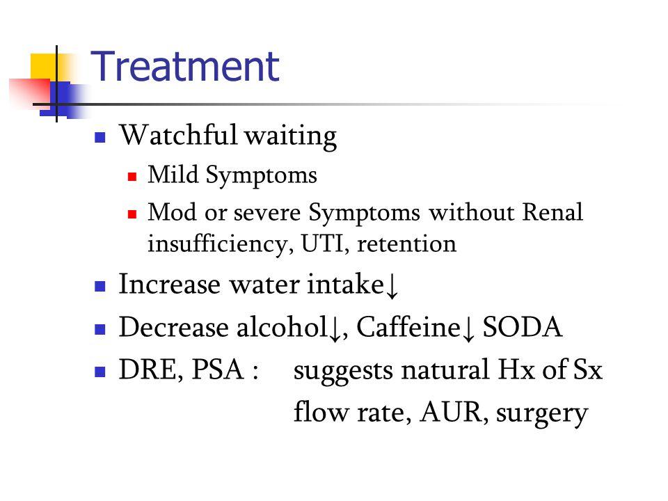 Treatment Watchful waiting Increase water intake↓