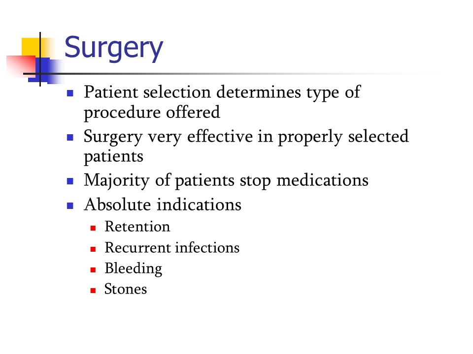 Surgery Patient selection determines type of procedure offered