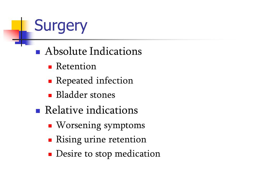 Surgery Absolute Indications Relative indications Retention