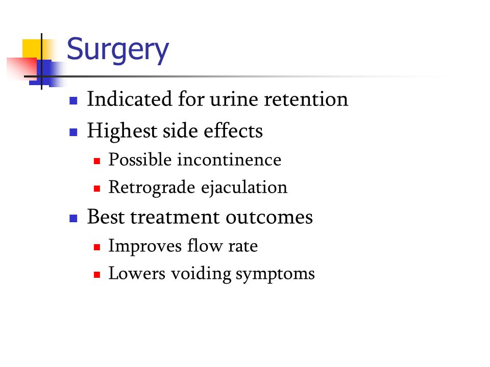 Surgery Indicated for urine retention Highest side effects