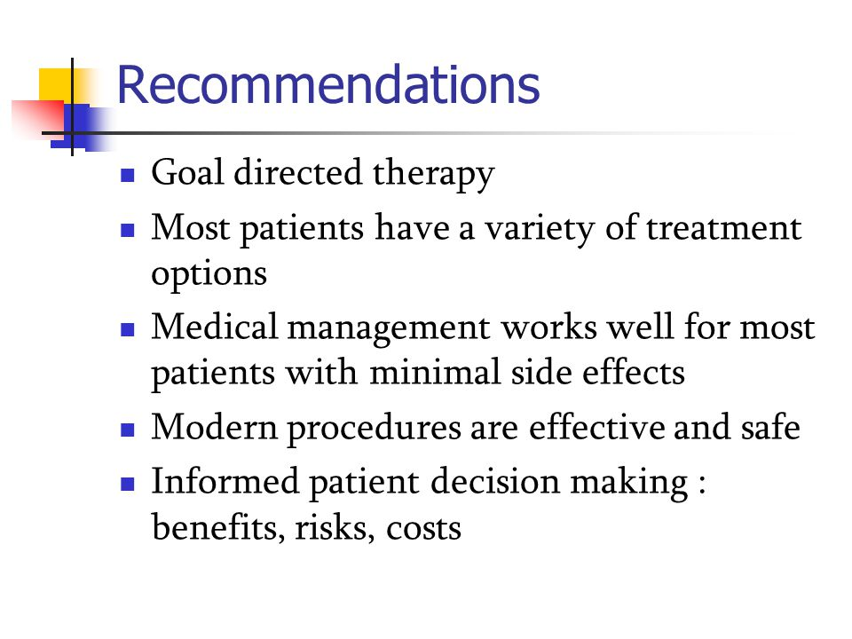 Recommendations Goal directed therapy