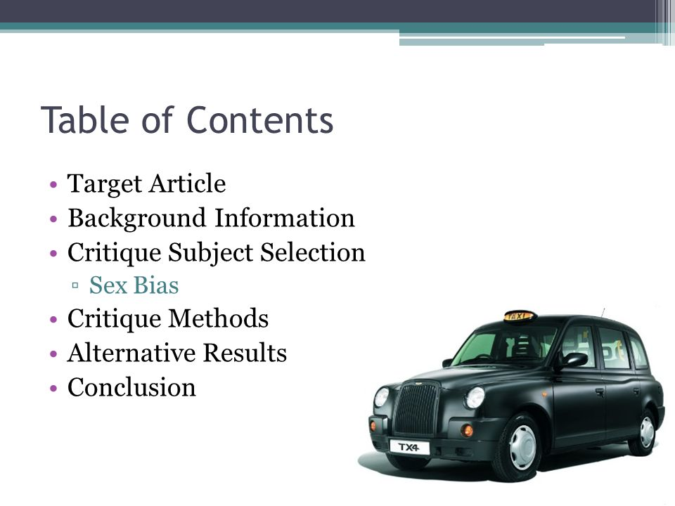 Table of Contents Target Article Background Information