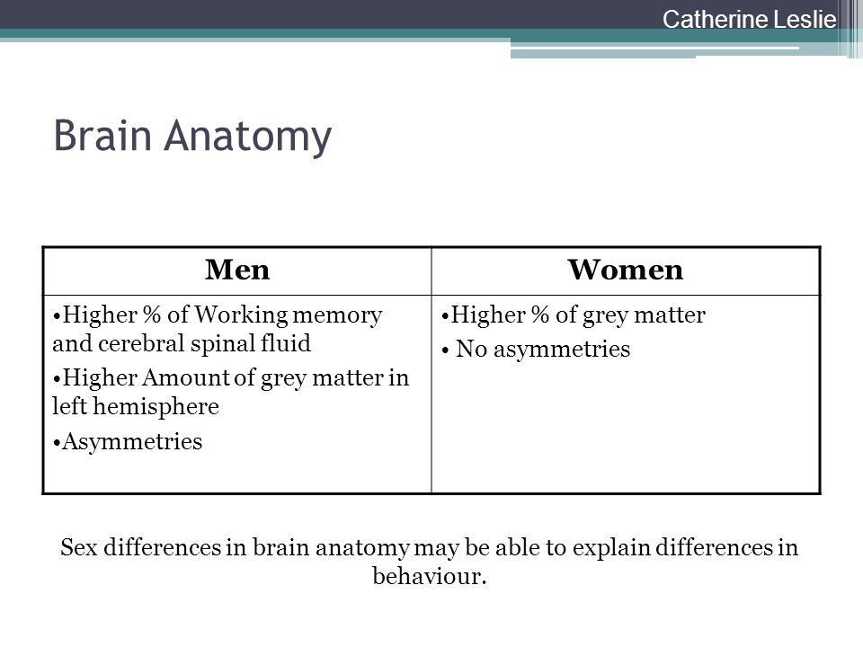 Brain Anatomy Men Women Catherine Leslie