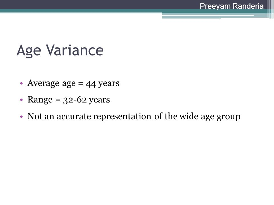 Age Variance Average age = 44 years Range = 32-62 years