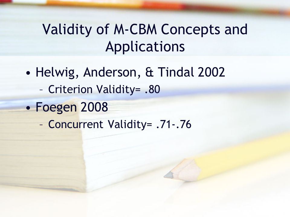 Validity of M-CBM Concepts and Applications
