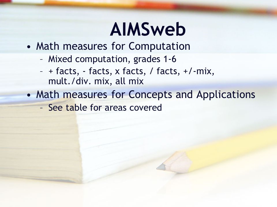 AIMSweb Math measures for Computation